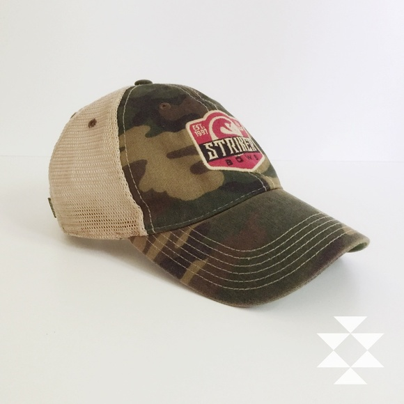 Camo and Mesh Hat With Striker Bows Emblem